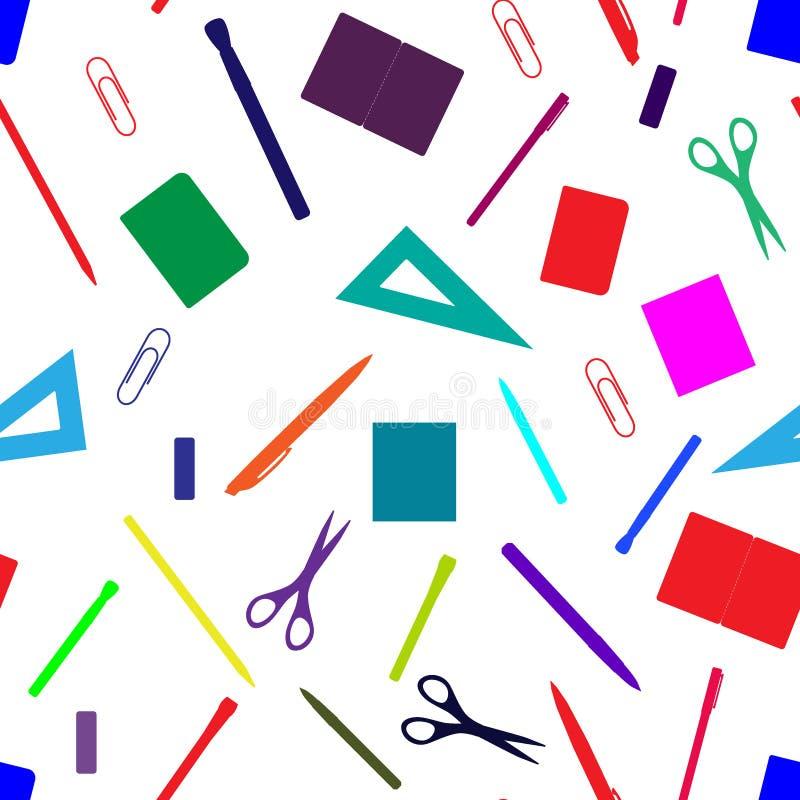 Popiera szkoła bezszwowy wzór z ręki rysować szkolnymi dostawami, książkami i materiały, Linia, wielobok, nożycowy, notatnik, pió royalty ilustracja