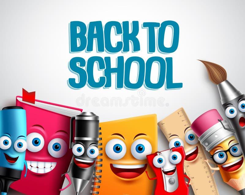 Popiera szkoła charakterów tła wektorowy szablon z kolorowymi śmiesznymi szkolnymi kreskówek maskotkami royalty ilustracja