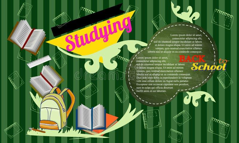 Popiera szkoła charakterów tła wektorowy szablon z plecakiem, ołówkiem, książką i przestrzenią dla teksta, royalty ilustracja