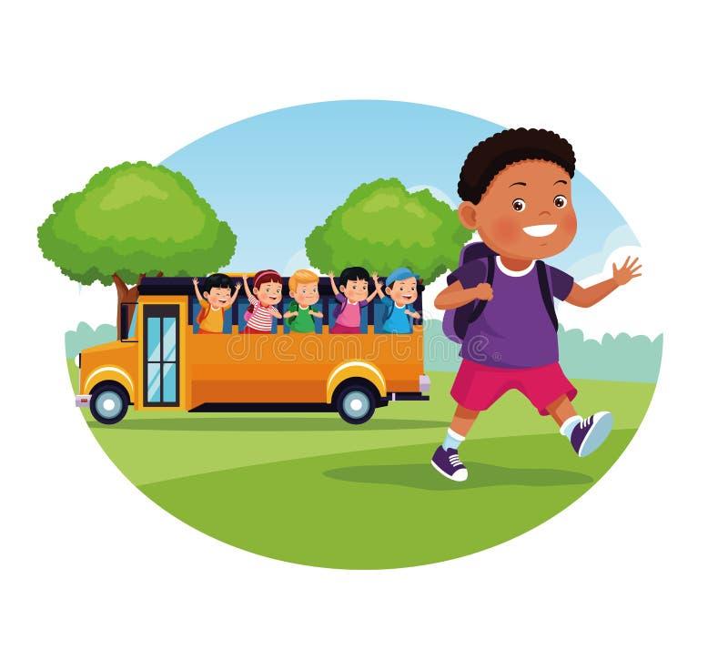 Popiera szkoła dzieciaków kreskówek round ikona ilustracja wektor