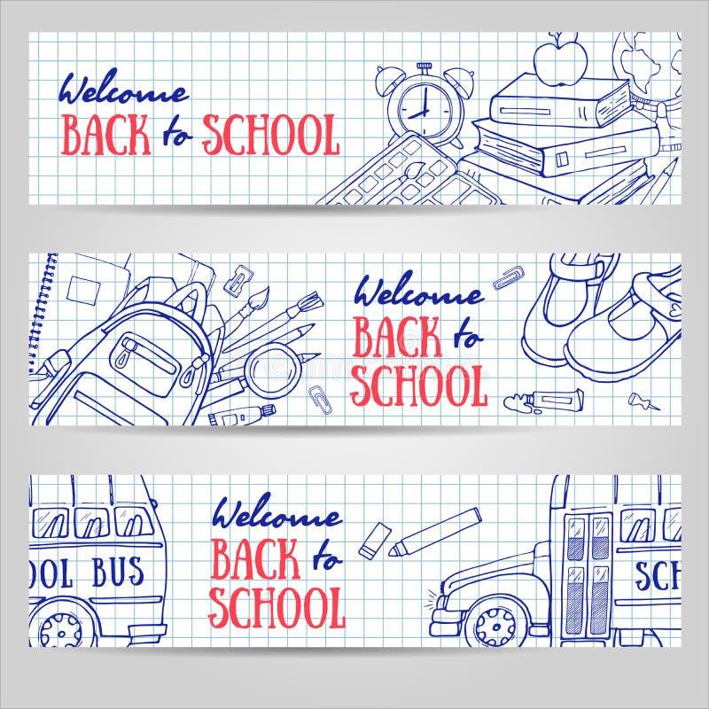 Popiera szkoła horyzontalni sztandary Szkicowy materiały, blackboard, autobus royalty ilustracja