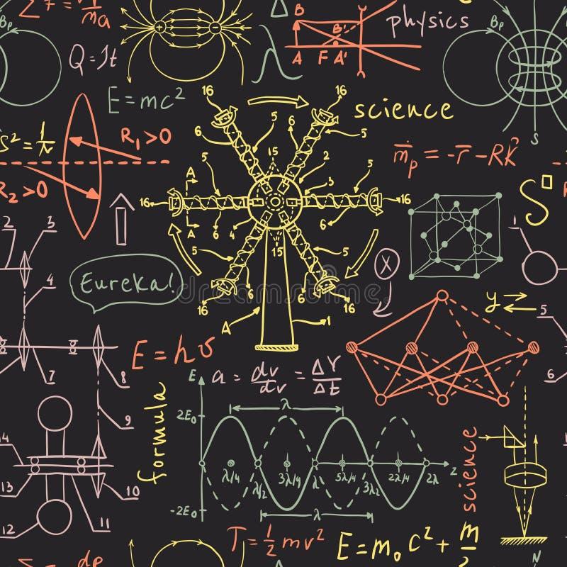 Popiera szkoła: laboratorium naukowe przedmioty Doodle rocznika nakreślenia projektują bezszwowego wzór royalty ilustracja