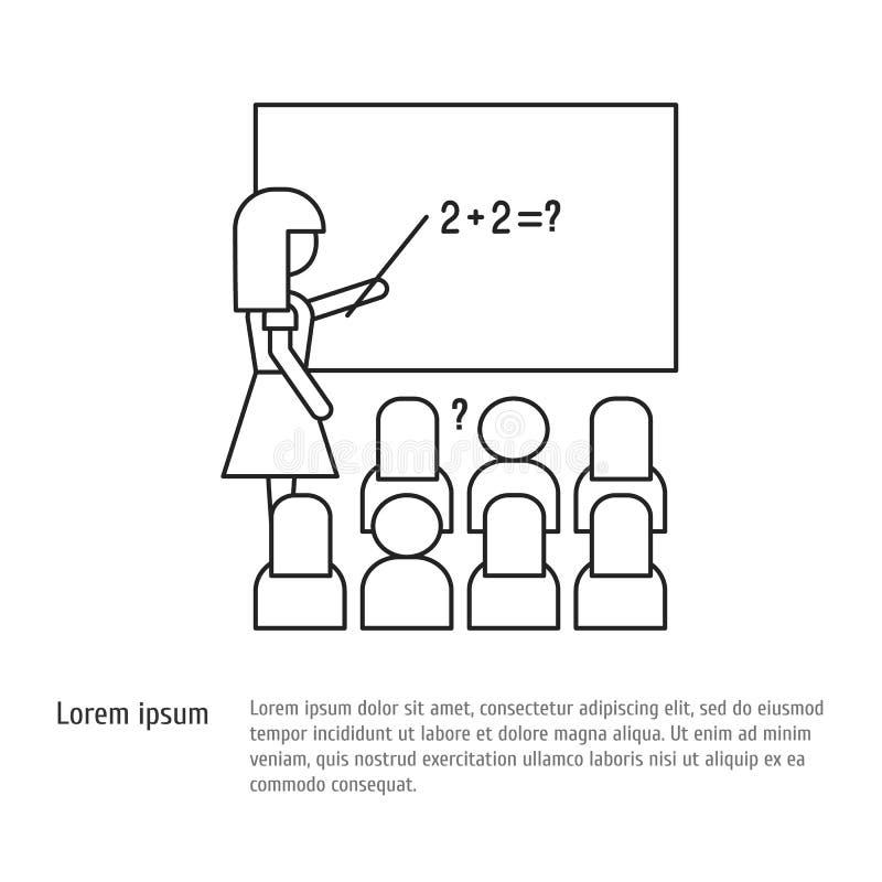Popiera szkoła - nauczyciel przy zarządem szkoły uczy uczni przy szkolną lekcją Wektorowa ikona w kreskowym stylu ilustracji