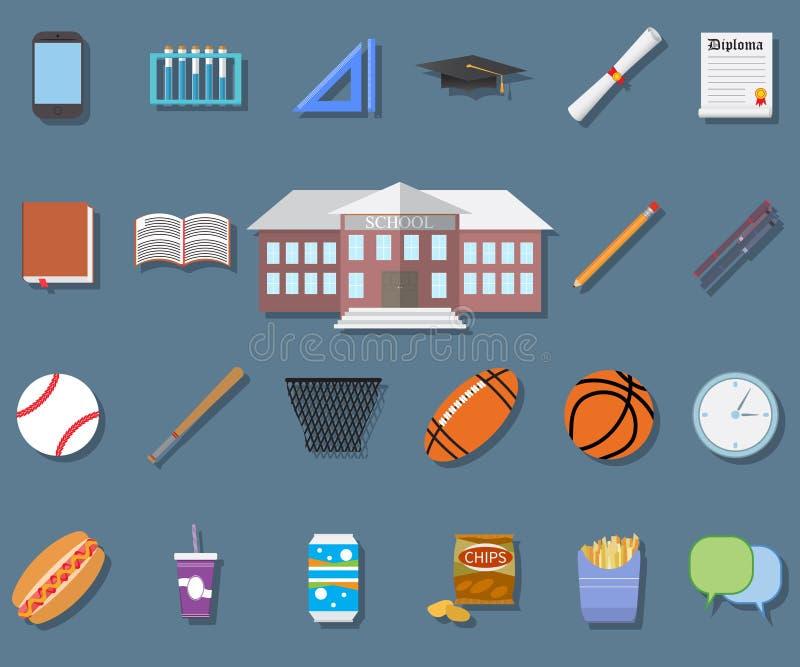 Popiera szkoła Płaskiego projekta nowożytna wektorowa ilustracja, budynek szkoły, pióro, pensil, jedzenie, sport rzeczy, dyplom i ilustracji