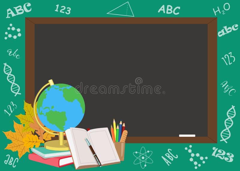 Popiera szkoła plakatowy projekt z szkolnymi tematami również zwrócić corel ilustracji wektora ilustracji