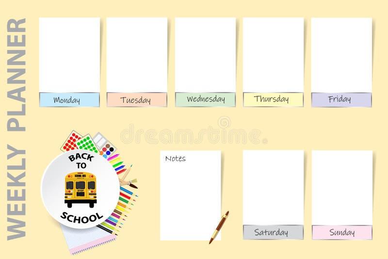 Popiera szkoła planisty tygodniowy wektor ilustracji