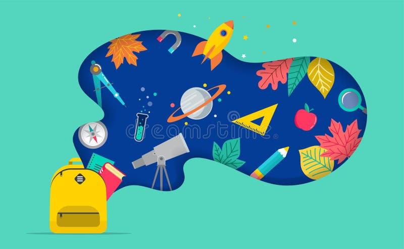 Popiera szkoła, plecak z mowa bąblem i wiele edukacji ikony, elementy Wektorowy poj?cie projekt ilustracji