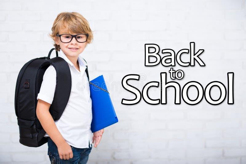 Popiera szkoła - portret mała szkolna chłopiec w szkłach z b zdjęcia stock