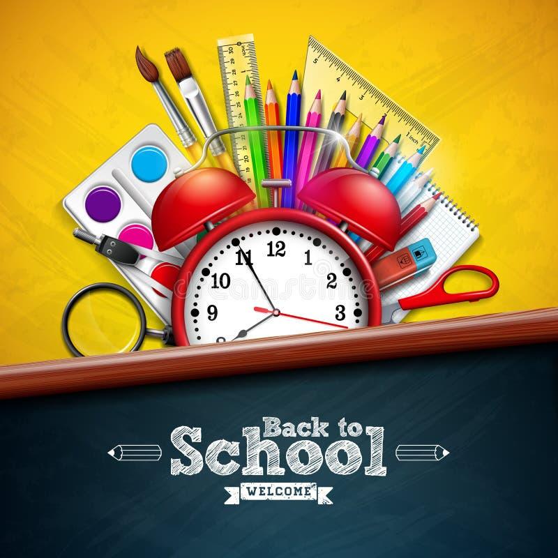 Popiera szkoła projekt z budzikiem, kolorowy ołówek, powiększa - szkło, nożyce, władca i typografia list, dalej ilustracji