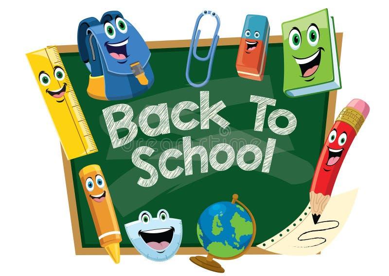 Popiera szkoła projekt z chalkboard kreskówką ilustracja wektor