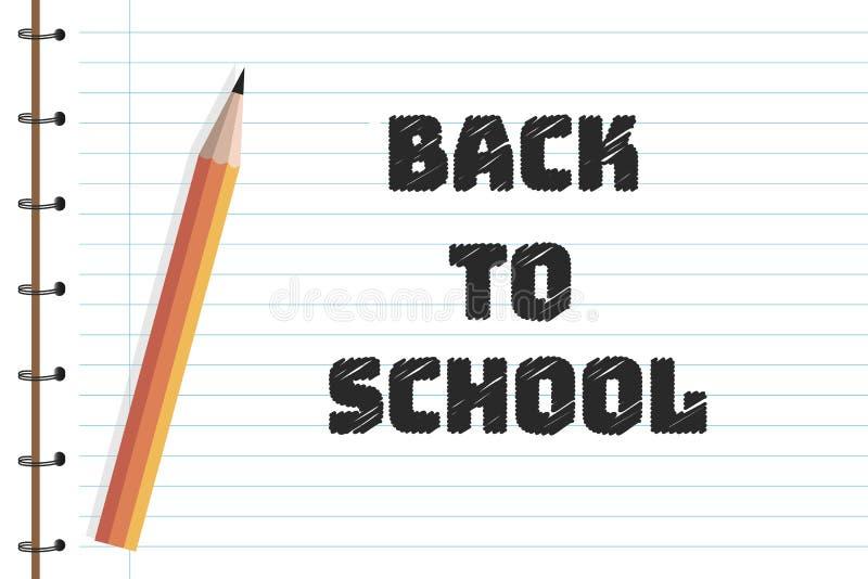 Popiera szkoła projekt z ołówkami, ostrzarka na copybook tle Wektorowa ilustracja dla kartka z pozdrowieniami, sztandar ilustracji