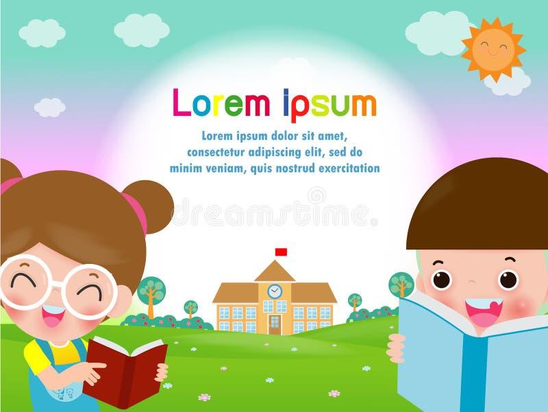 Popiera szkoła, szczęśliwych dzieciaków czytelnicze książki, studencki uczenie, edukacji pojęcia szablon dla reklamowej broszurki ilustracja wektor