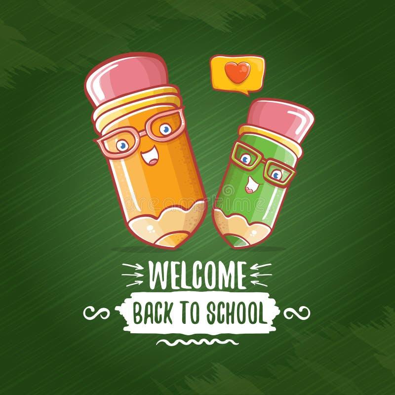 Popiera szkoła sztandar, plakat z kreskówka ostrym ołówkiem lub ręka rysująca doodle teksta etykietka na zielonej chalkboard teks royalty ilustracja