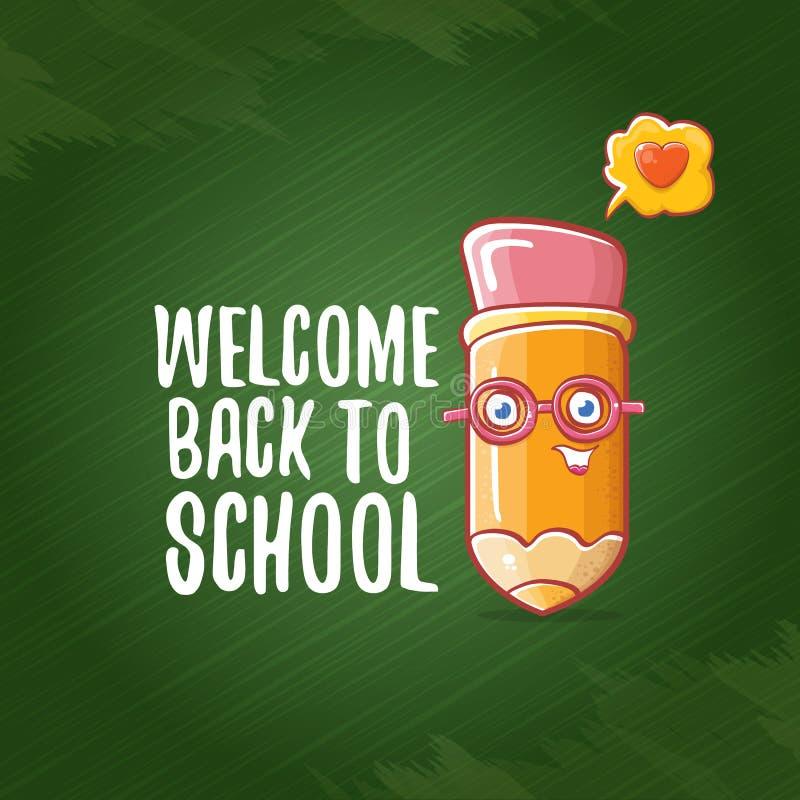 Popiera szkoła sztandar, plakat z kreskówka ostrym ołówkiem lub ręka rysująca doodle teksta etykietka na zielonej chalkboard teks ilustracji