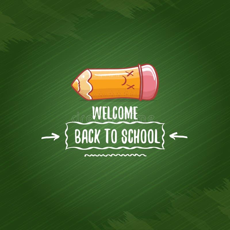 Popiera szkoła sztandar, plakat z kreskówka ostrym ołówkiem lub ręka rysująca doodle teksta etykietka na zielonej chalkboard teks ilustracja wektor