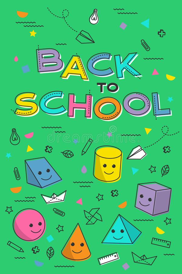Popiera szkoła sztandar, plakat z studenckimi dostawami Edukacja uczenie poj?cie fotografia royalty free