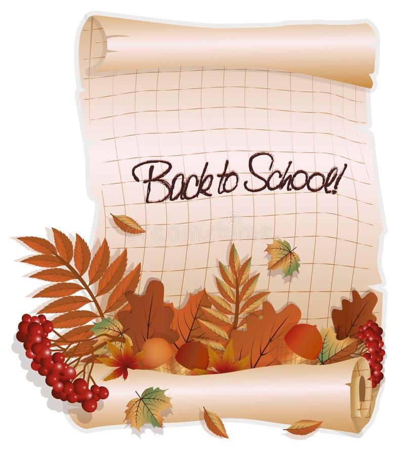 Popiera szkoła sztandar z liście, w starym stylu, wektor ilustracji