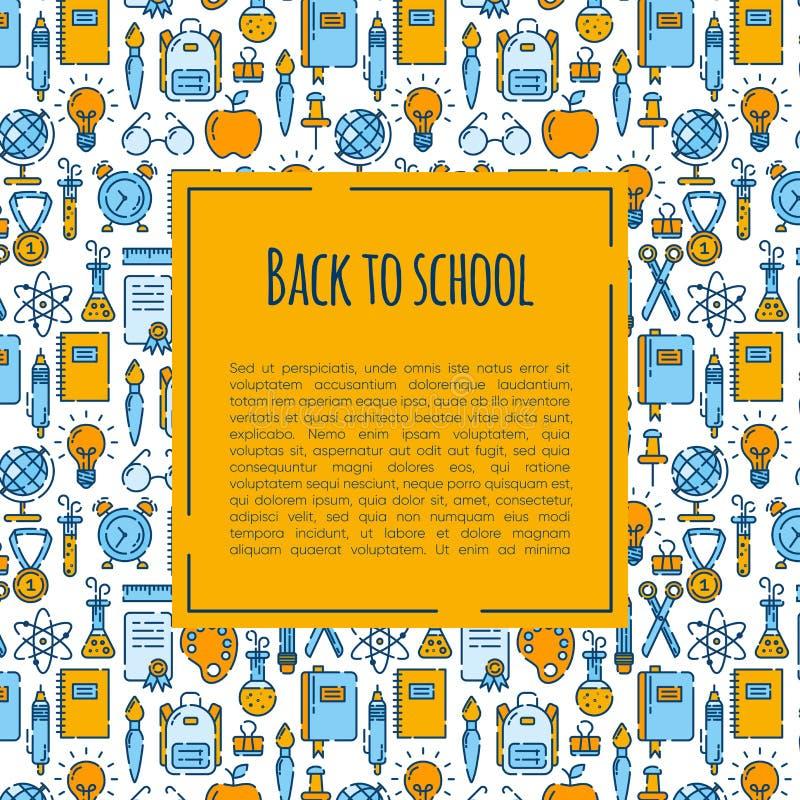 Popiera szkoła sztandar z wzorem szkolne dostawy Powitanie z powrotem szkoły broszurka Kolorowy koloru żółtego i błękita sztandar ilustracja wektor