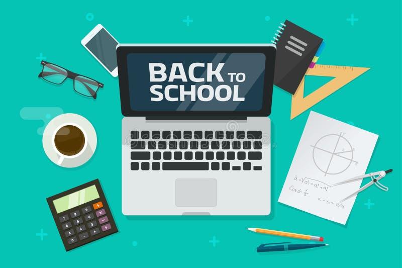 Popiera szkoła tekst na laptopie i odgórnego widoku wektorowej ilustracji desktop lub stołowej, płaska kreskówka nieatutowa miejs royalty ilustracja