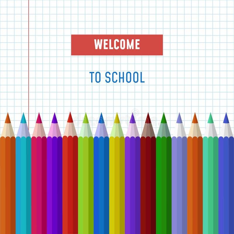 Popiera szkoła teksta wektorowy logo z ołówkami royalty ilustracja