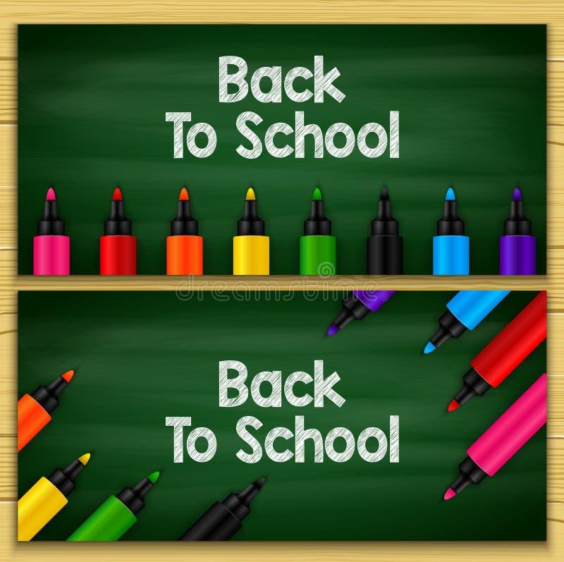 Popiera szkoła tytułu słowa pisać w chalkboard z setami markiery ilustracji