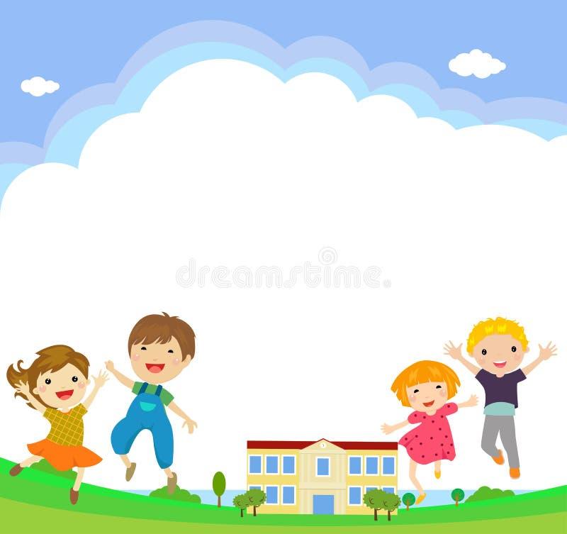 Popiera szkoła uczni wektorowi charaktery śmieszni chłopiec i dziewczyn dzieciaków skakać ilustracja wektor