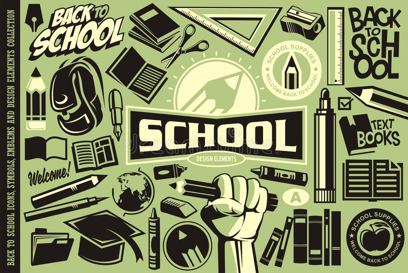 Popiera szkoła ustawiająca ikony, logo, symbole, emblematy i projektów elementy, ilustracja wektor