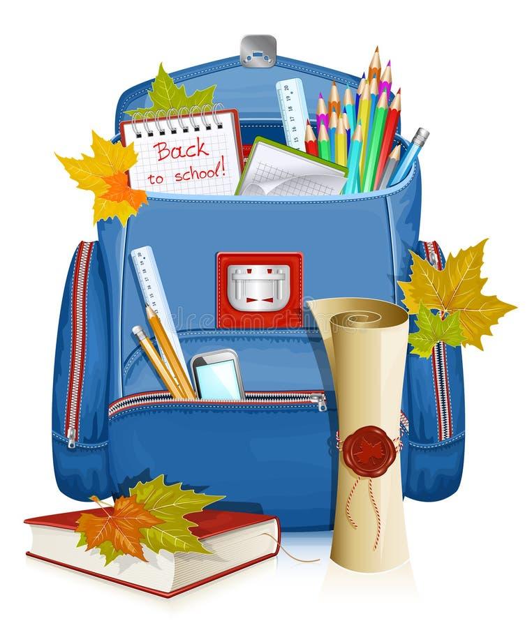 Popiera szkoła! Szkolna torba z edukacja przedmiotami. ilustracji