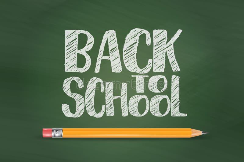 Popiera szkoła wektorowy sztandar z kredowym tekstem na zielonym blackboard tle z ołówkiem r?wnie? zwr?ci? corel ilustracji wekto ilustracja wektor