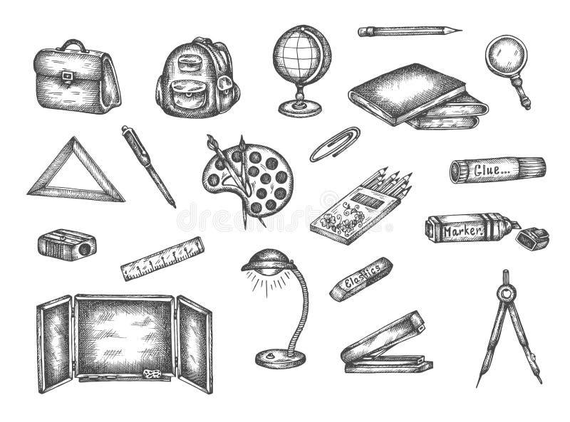 Popiera szkoła wektoru doodle ręka rysujący ustaleni elementy ilustracji