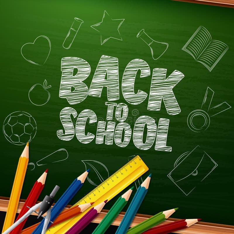 Popiera szkoła z szkolnymi dostawami i doodles na chalkboard tle ilustracji