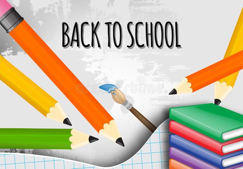 Popiera szkoła z szkolnymi rzeczami i elementami wektorowy sztandaru projekt royalty ilustracja