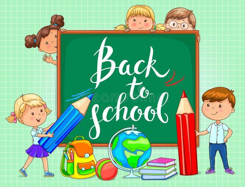 Popiera szkoła zarząd szkoły z śmiesznymi dzieciakami ilustracja wektor
