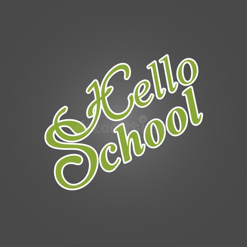Popiera szkoła - zielony literowanie na czarnym tła powitaniu ca ilustracja wektor