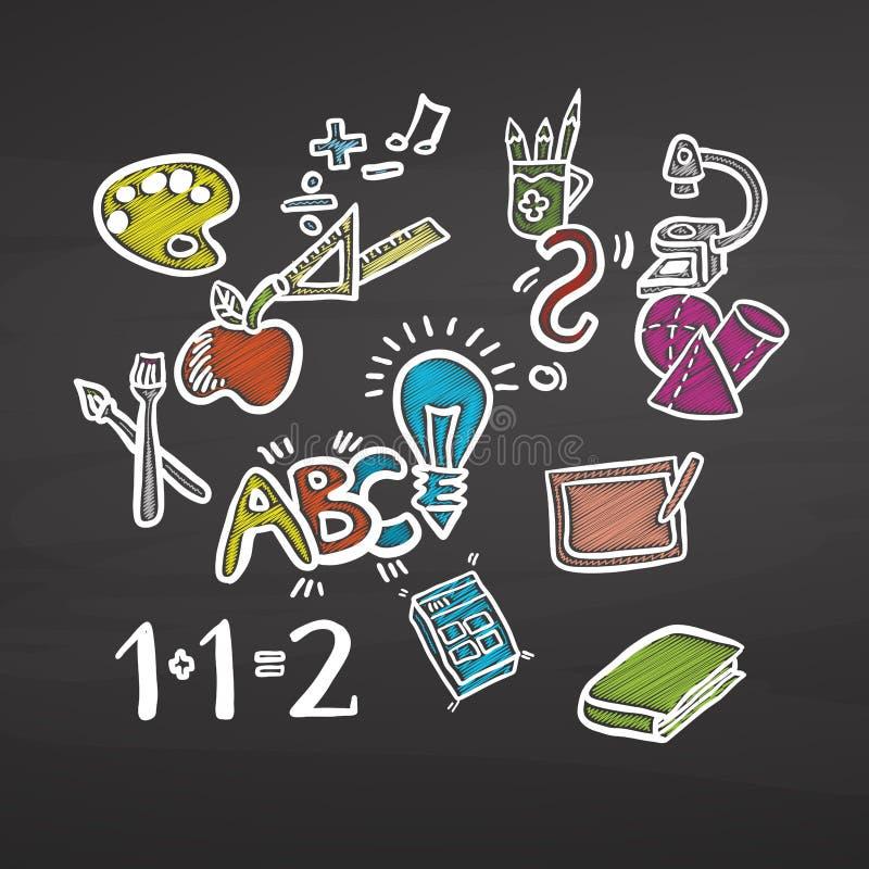 Popiera szkoły barwiący kredowi doodles na chalkboard ilustracji