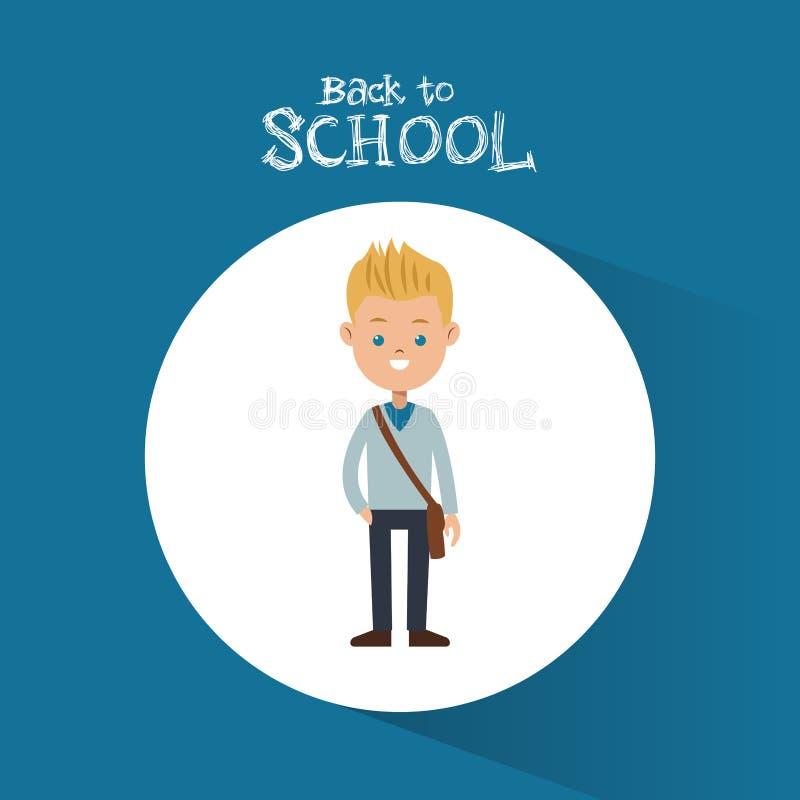 Popiera szkoły chłopiec blondynów torby błękita studencki tło royalty ilustracja