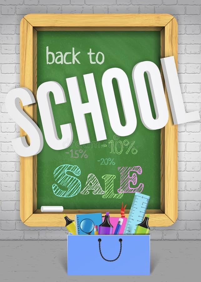 Popiera szkoły chalkboard sztandaru kolorowy pojęcie dla sprzedaży reklamy dla witać dzieciaków z powrotem z torbą nauk dostawy ilustracji