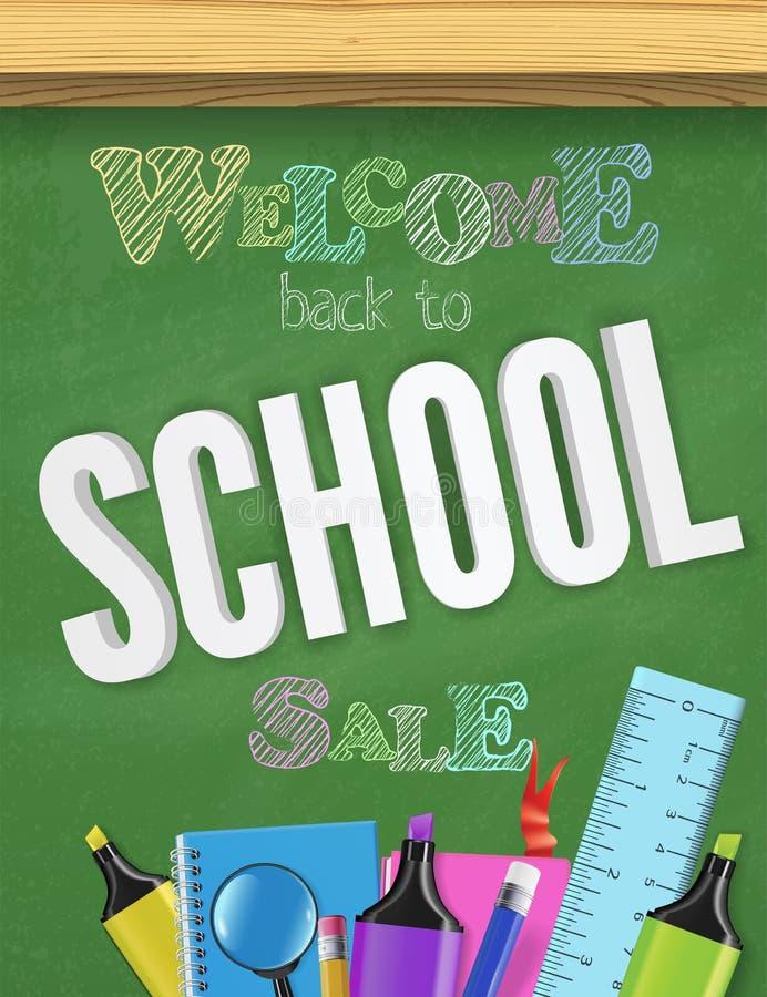 Popiera szkoły chalkboard sztandaru zieleń textured kolorowy pojęcie dla sprzedaży reklamy dla witać dzieciaków z powrotem z nauk ilustracja wektor