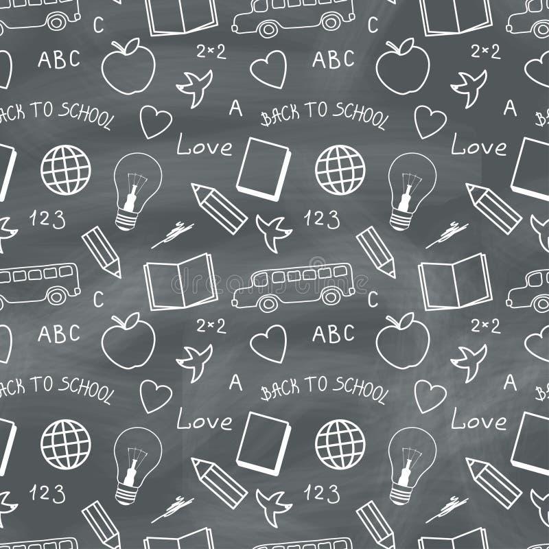 Popiera szkoły Chalkboard wzór ilustracji