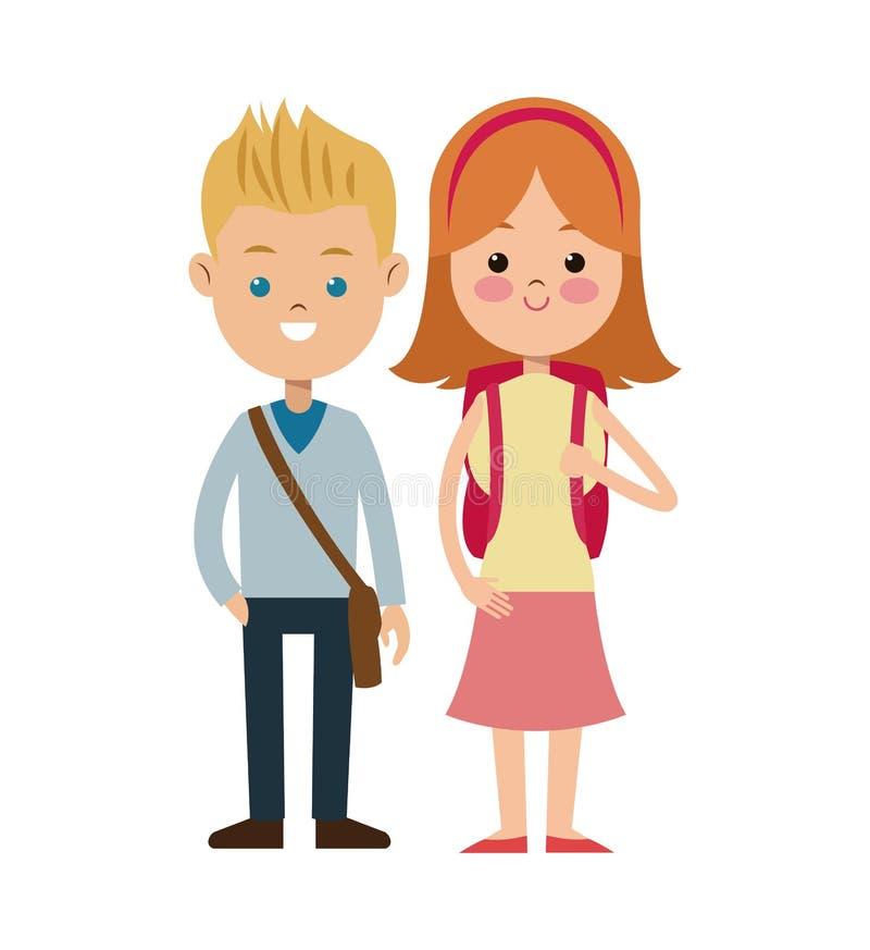 Popiera szkoły dwa ucznie chłopiec i gril ilustracja wektor