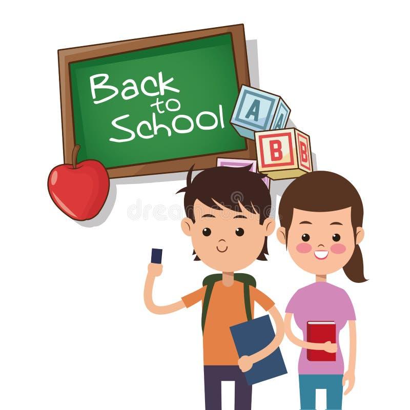 Popiera szkoły dziewczyny i chłopiec abecadła deskowy jabłczany sześcian ilustracji