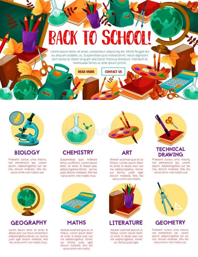 Popiera szkoły edukaci miejsca wektorowy szablon ilustracja wektor