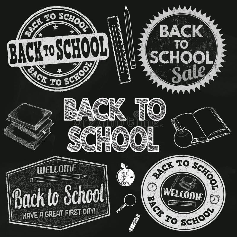 Popiera szkoły etykietki set ilustracja wektor