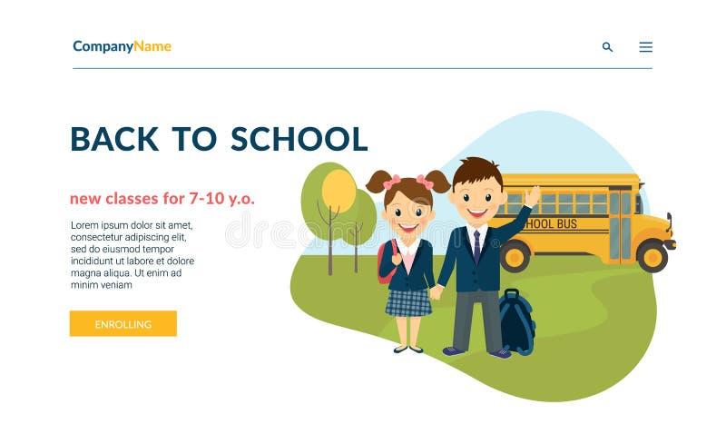 Popiera szkoły ilustracja dwa szczęśliwego ucznia jest ubranym mundur i autobus za one royalty ilustracja
