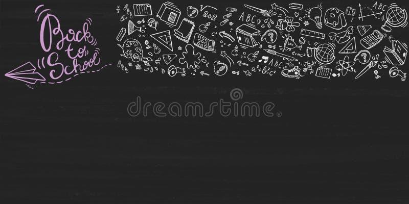 Popiera szkoły literowania tło z doodle elementami na blackboard, wektorowa ilustracja ilustracja wektor
