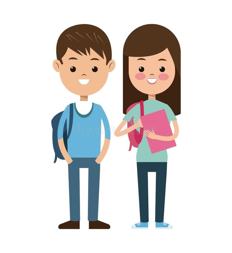 Popiera szkoły pary uczni dzieciaki uśmiecha się royalty ilustracja