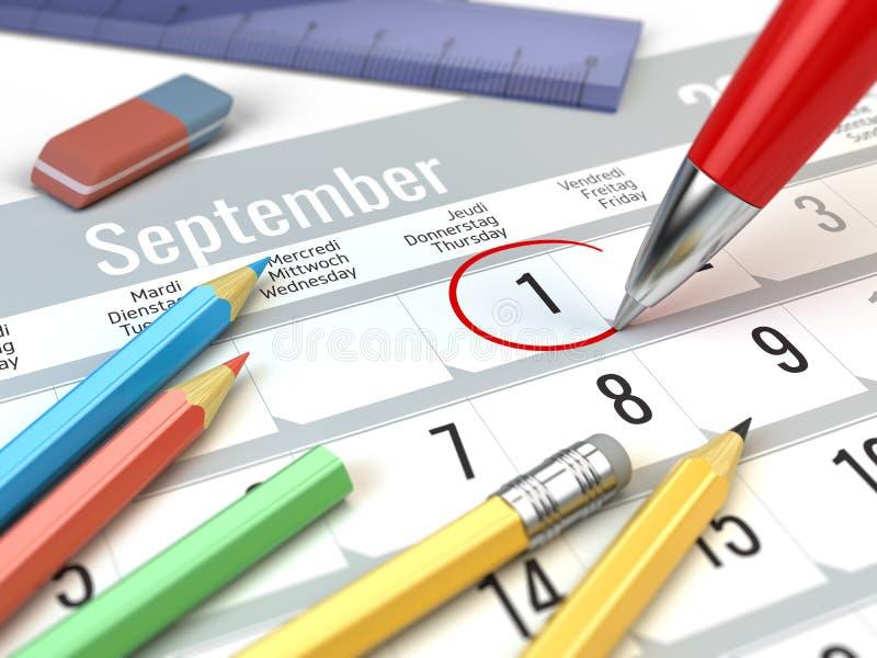 Popiera szkoły pojęcie - Czerwona pióro ocena na kalendarzu 1 Wrzesień royalty ilustracja