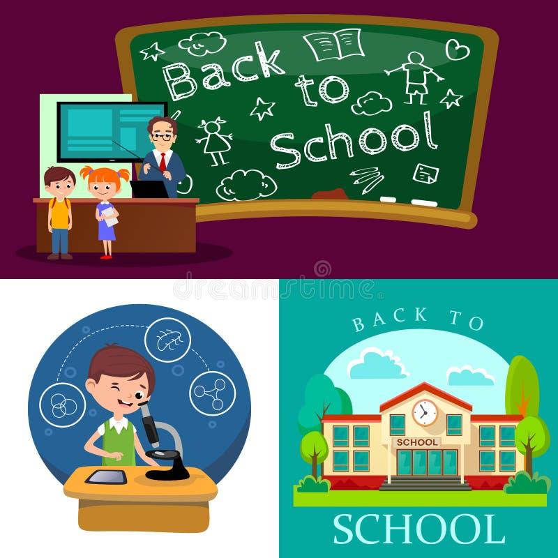 Popiera szkoły pojęcie, lekcja w sala lekcyjnej przy szkołą wyższa, nauczyciel wyjaśnia Children lekcyjni pobliskiego biurko prze ilustracji