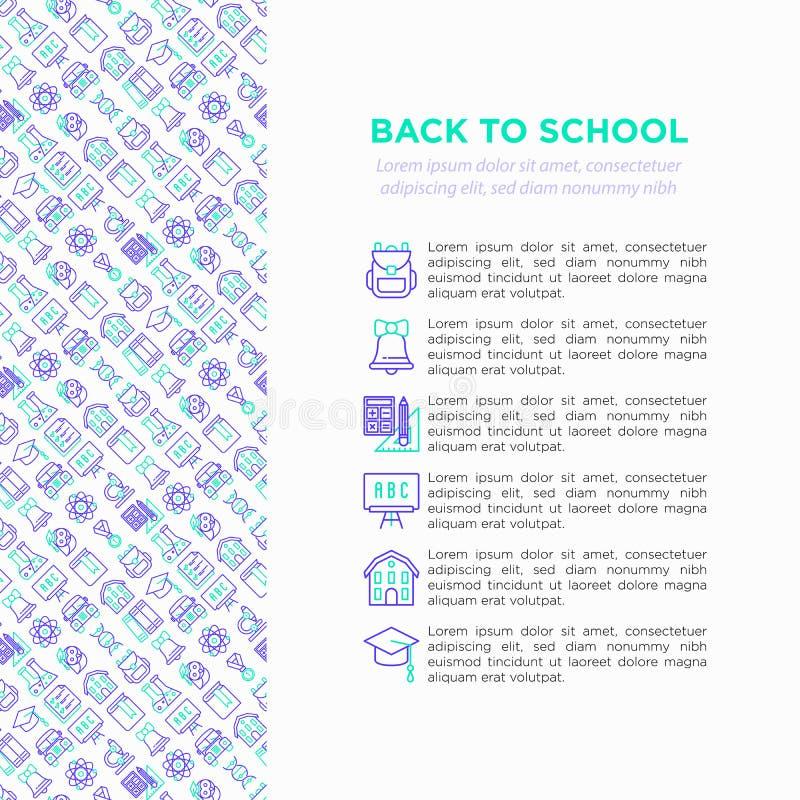 Popiera szkoły pojęcie z cienkimi kreskowymi ikonami: plecak, dzwon, książka, mikroskop, wiedza, sowa, skalowanie nakrętka, autob ilustracji