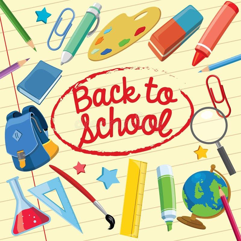Popiera szkoły pojęcie z szkolnymi dostawami ilustracja wektor